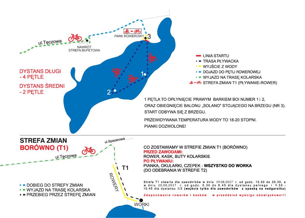 OceanLava Triathlon Polska Bydgoszcz Borówno :: Trasa pływacka oraz T1